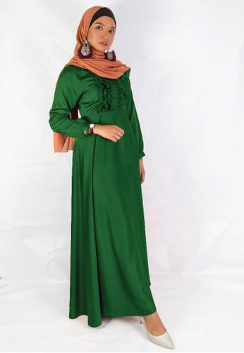 Zaryluq green Ruffle Dress in Emerald Green 9DB37AACB6990EGS_1