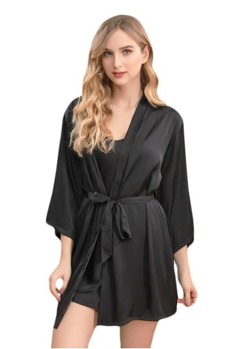 LYCKA black LCB2162-Lady Sexy Robe and Inner Lingerie Sets-Black 72A55US284B5A8GS_1