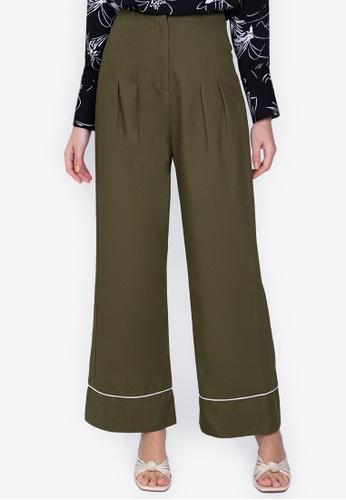 ZALORA WORK green Wide Leg Chino Pants 3E317AAD93FC7DGS_1