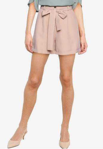 ZALORA WORK beige High Waist Shorts with Self Tie 7344EAA101B9B2GS_1