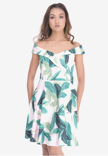0161b336dbc6 Cat in the bowl white and pink and green Off Shoulder Tropical Print Dress  4AFD7AAD71D10DGS 1