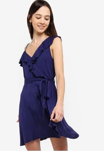Something Borrowed navy Cold Shoulder Ruffles Dress 44570AA397F18FGS_1