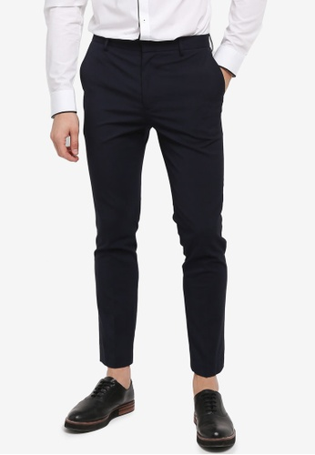 Topman navy Navy Skinny Fit Smart Trousers B868DAA05E1729GS_1