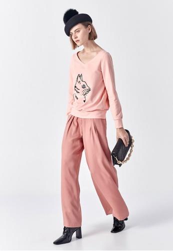 iROO pink High Waist Wide Leg Pants 0F91BAA055741BGS_1