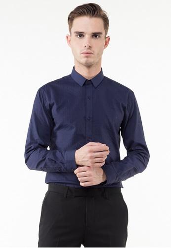 The Executive navy Dobby Stripes Long Sleeve Shirt TH044AA0SZ98MY_1