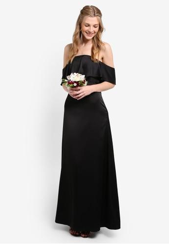 ZALORA black Bridesmaid Satin Off Shoulder Maxi Dress B03E3AA91ADAA4GS_1