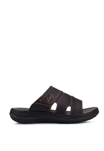 Louis Cuppers brown Faux Leather Stitched Sandals D7B65SHCE86441GS_1