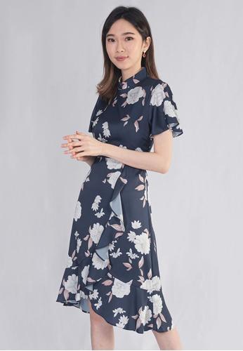 Plain B. white Plain B. Polyester Floral Cheong Sam Midi Dinner Dress 6D60DAAB7DC56CGS_1