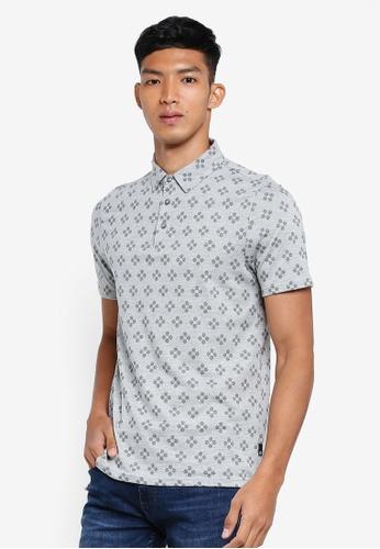 Burton Menswear London grey Grey Geometric Print Polo Shirt 87739AAED4ED72GS_1