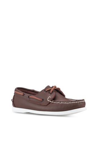 UniqTee brown Leather Classic Two-Eye Boat Shoes UN097SH04IMHMY_1