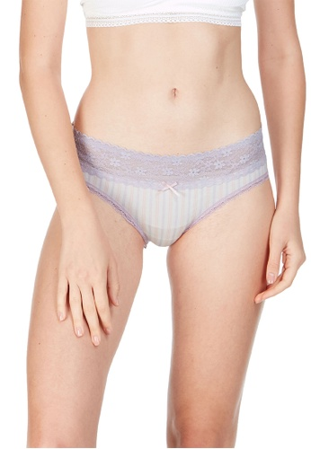 6IXTY8IGHT white Briti AOP, Modal Allover Stripe Hipster Panty PT09938 B71A1US40A2EDEGS_1