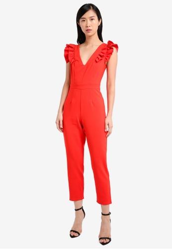 Miss Selfridge red Petite Ruffle Sleeve Jumpsuit MI665AA0SS6JMY_1