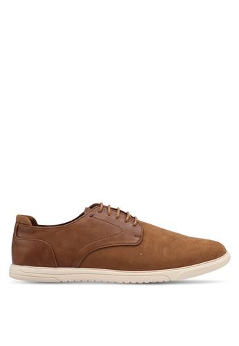 Burton Menswear London brown Tan Leather Look Derby Shoes 3FA74SH1215C7CGS_1