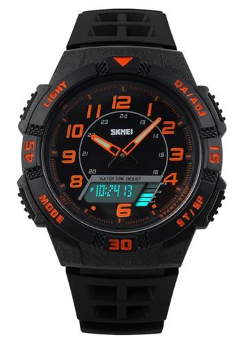 Digitec black and multi Skmei - Jam Tangan Pria - Black Orange - Rubber Strap - 1065-D DI108AC89OREID_1