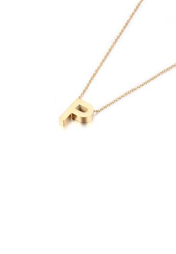 Glamorousky 銀色 簡約個性鍍金色英文字母P 316L鋼吊墜配項鏈 EB80FACB84B8E9GS_1