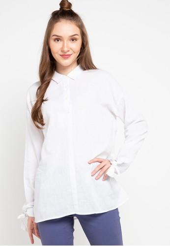 Giordano white Women's Linen Long Sleeve Shirt 9FBDCAAEE8503BGS_1