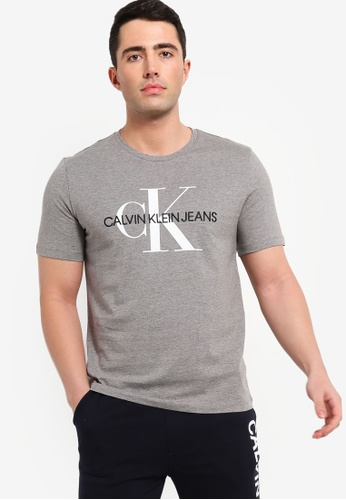 Calvin Klein 灰色 刺繡短袖T恤 AA18BAA9DFE69AGS_1