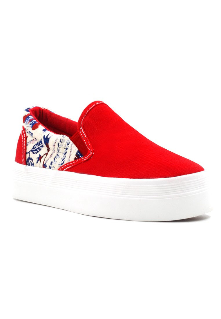 New York Sneakers Quinn Flatform Shoes (Red)