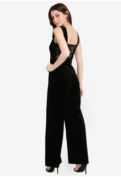 381e073c97b TFNC black Johannie Velvet And Lace Jumpsuit 48C9EAA75E13B7GS 1