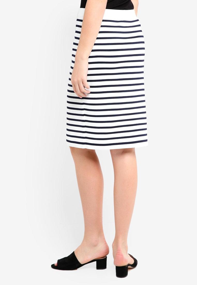 Pencil Banana Skirt Stripe Republic Blue Sweater White nqxUPO