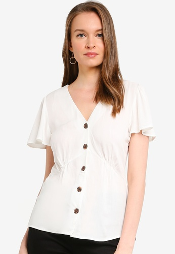 WAREHOUSE white Flute Sleeve Button Front Top 6DDF1AA825146BGS_1