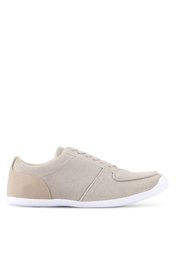 ZALORA beige Faux Suede Leather Trainers 2DAA9SHA3BE777GS_1