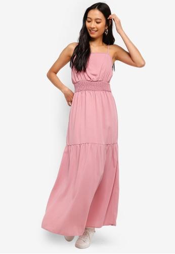 ZALORA pink Smocked Waist Maxi Dress 2AC2EAAE9286FAGS_1