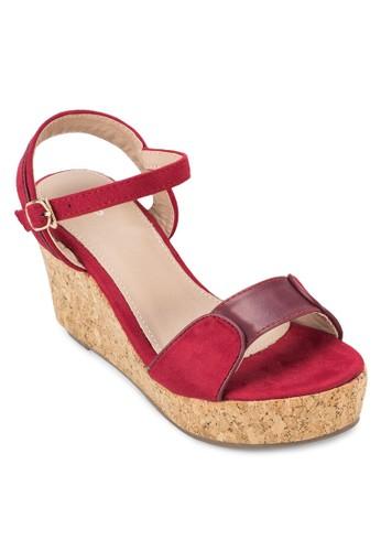 軟esprit地址木楔型繞踝涼鞋, 女鞋, 鞋