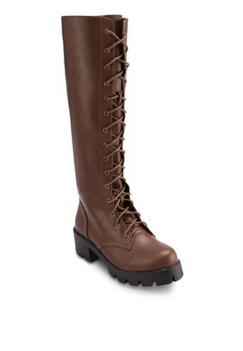 鞋帶式厚esprit官網底中筒靴, 女鞋, 靴子
