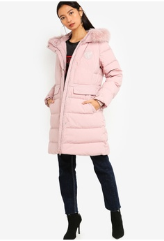 1076d7a3cc80 30% OFF Guess Embroidered Logo Hooded Long Down Jacket HK$ 3,299.00 NOW HK$  2,309.00 Sizes XS S M