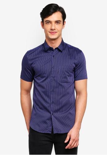 Electro Denim Lab 藍色 Dobby 短袖襯衫 077F1AACF3C9C2GS_1