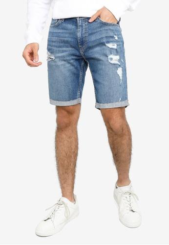 Hollister blue Denim Destroy Shorts 63669AA943A742GS_1