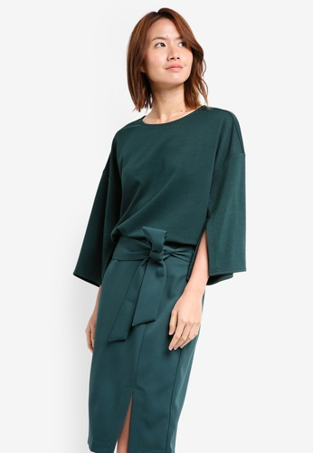 ZALORA green Oversized Top With Slits 47DC3AAC75C964GS_1