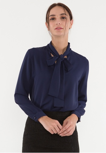 Plain B. blue Plain B. Collar-Tie Blouse/Shirt With Long Sleeve 47CB8AA0AF8762GS_1