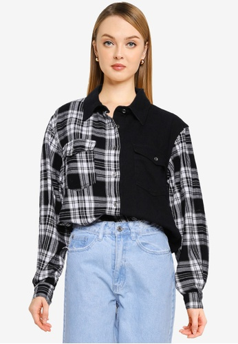 MISSGUIDED 黑色 Petite Oversized 格紋丹寧 襯衫 A106AAA5A7D430GS_1