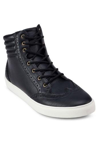 zalora 包包評價雕花高筒繫帶運動鞋, 鞋, 休閒鞋