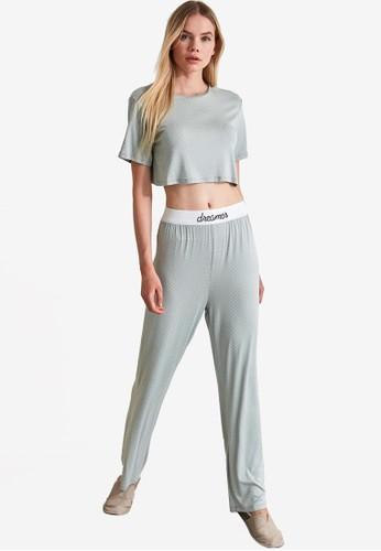 Trendyol grey Mint Dreamer Crop Pajama Set 6765AAAF8B0F7AGS_1