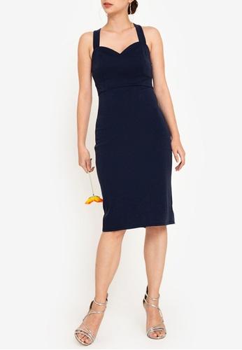 ZALORA OCCASION 海軍藍色 伴娘Sweet愛心緊身洋裝 54449AA7ECC959GS_1