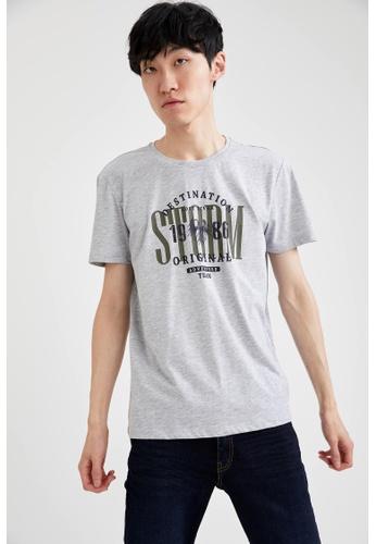 DeFacto grey Short Sleeve Round Neck Printed T-Shirt CBA07AAEB2B038GS_1