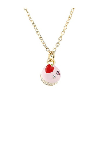 Glamorousky silver Glistering Strawberry Cake Pendant with Pink and Silver CZ and Necklace CCA19AC9016D79GS_1