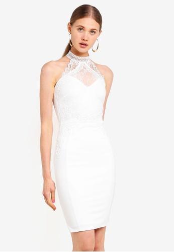810d542d0eba Buy Lipsy Lace Trim Halter Bodycon Dress Online