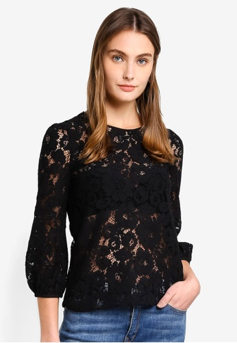French Connection black Emma Lace Long Sleeve Top AD237AA9FD43C6GS_1