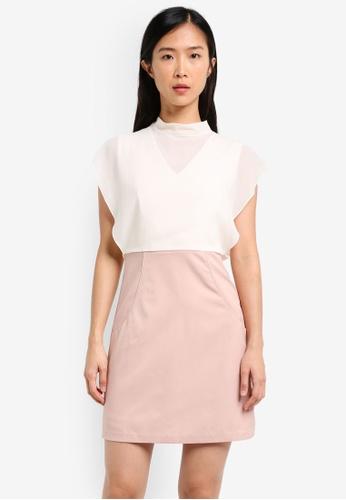 ZALORA pink Sheath Dress With Chiffon Top D5529AA2490246GS_1