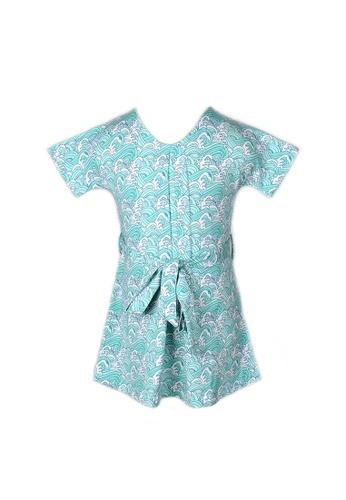 Mini Moley green Japanese Wave Print Girl's Flare Dress 76FE9KA34C91D5GS_1