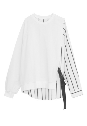 HAPPY FRIDAYS white Loose Patchwork Stripe Tops M2-N-7673 57439AA45DE935GS_1