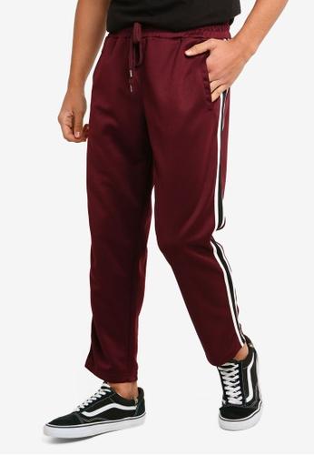 Cotton On 紅色 修身條紋滾邊運動褲 B7F82AA4899701GS_1