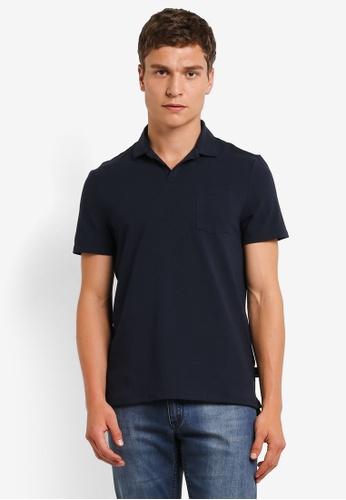 Burton Menswear London navy Navy Resort Collar Polo Shirt BU964AA0RM6WMY_1
