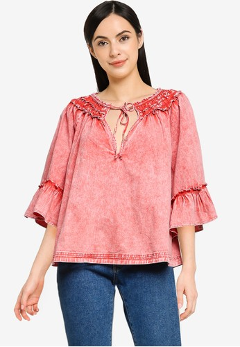 Free People pink Ainsley Denim Top D7DFBAA5CC5E5BGS_1