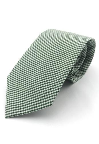 Caveman green Green Gingham Checks Necktie 6A336AC75C02CAGS_1