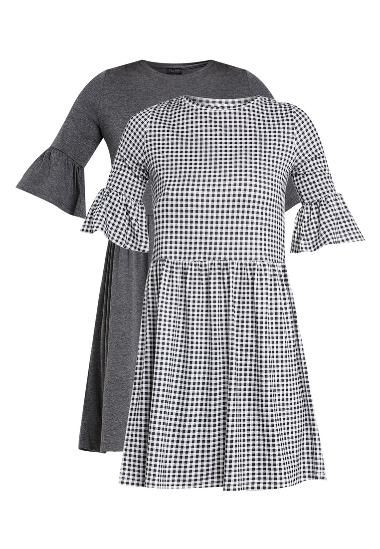 pack Grey Ruffle ZALORA Gingham Black Marl Shift 2 BASICS Basic Sleeves Dress dwSOdRqv